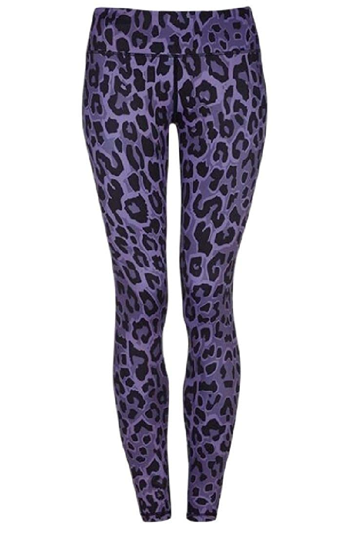 WAWAYA Womens Yoga Leopard Print Stretch Basic Sports High Waist Legging Pants