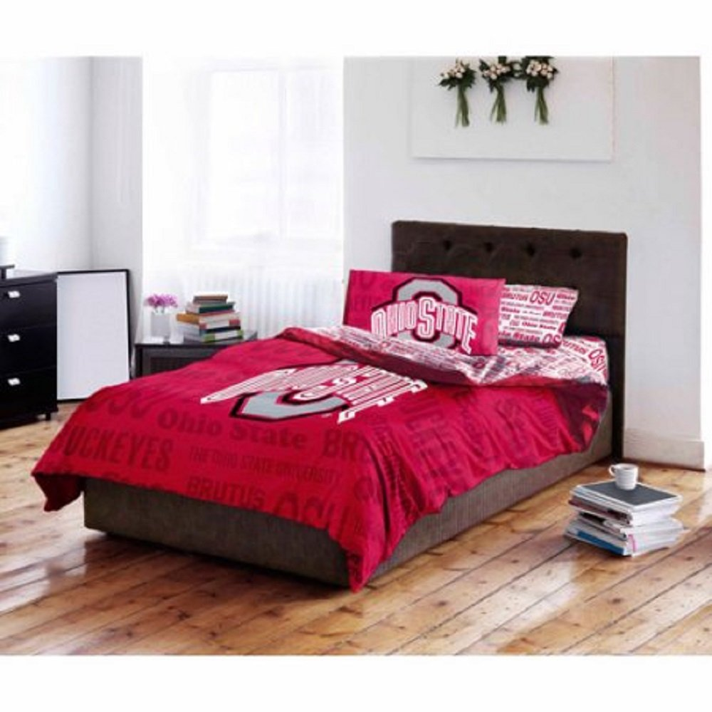 NCAA Ohio State University Buckeyes Bed in a Bag Complete Bedding Set (Queen)