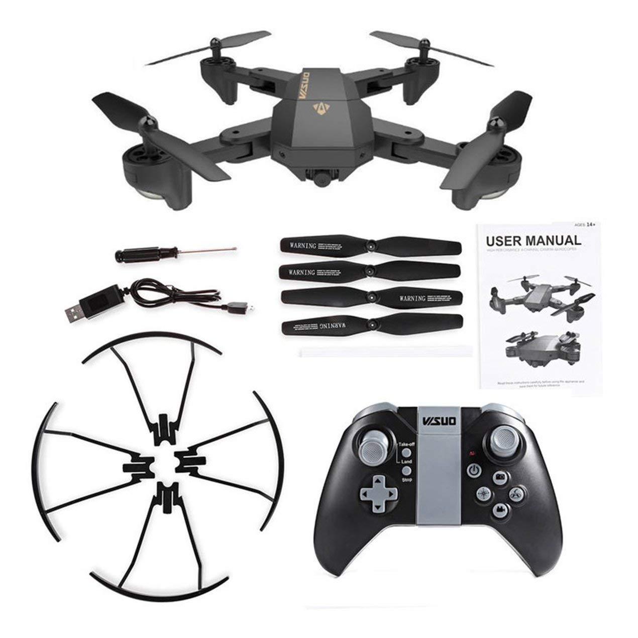 Drone WiFi Plegable 2.4G 4-Axis, One Key Return Quadcopter RC Plegable Modo sin Cabeza con cámara 30W, para fotografía aérea Interior y Exterior