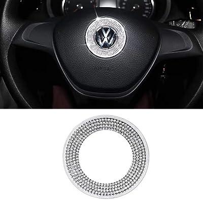 MAXMILO Car Interior Bling Accessories for Volkswagen Jetta Passat Golf Tiguan Arteon Atlas Steering Wheel Sign Logo 3D Rhinestone Decals Cover: Automotive