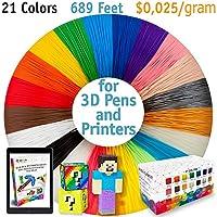 3D Pen Filament Refills - Premium Set of 21 Colors Bonus 200 Stencils EBook Including 6 Glow in The Dark from i3DPen