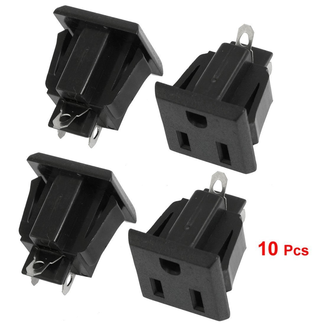 10 Pcs US 3 Pins Power Socket Plug Black AC 125V 15A Cipon HM-10412