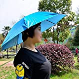 "massmall 26"" Diameter Elastic Band Fishing Headwear Umbrella Hat Dark Blue"