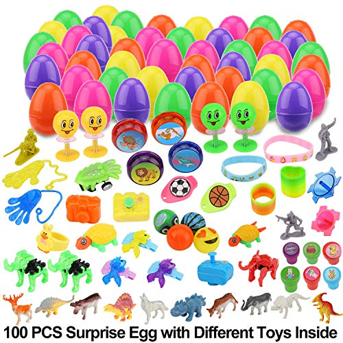 YEAHBEER 100 Pieces Toy Filled Easter Eggs,Prefilled Plastic Easter Eggs with Different Kinds of Little Toys,for Easter Theme Party Favor,Basket Stuffers Fillers, Easter Eggs Hunt