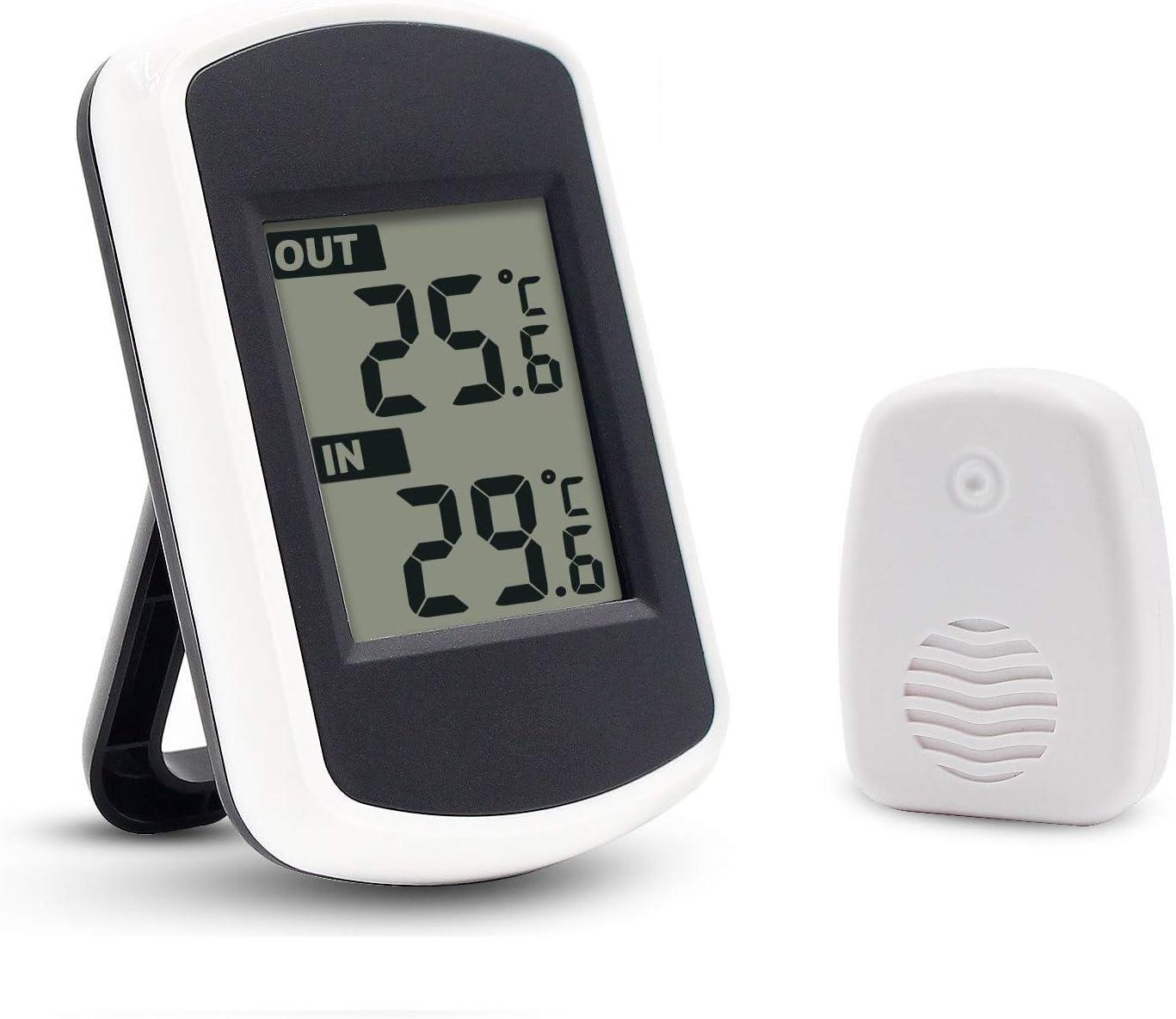 Ulable - Termómetro para interiores y exteriores con pantalla LCD digital (inalámbrico)