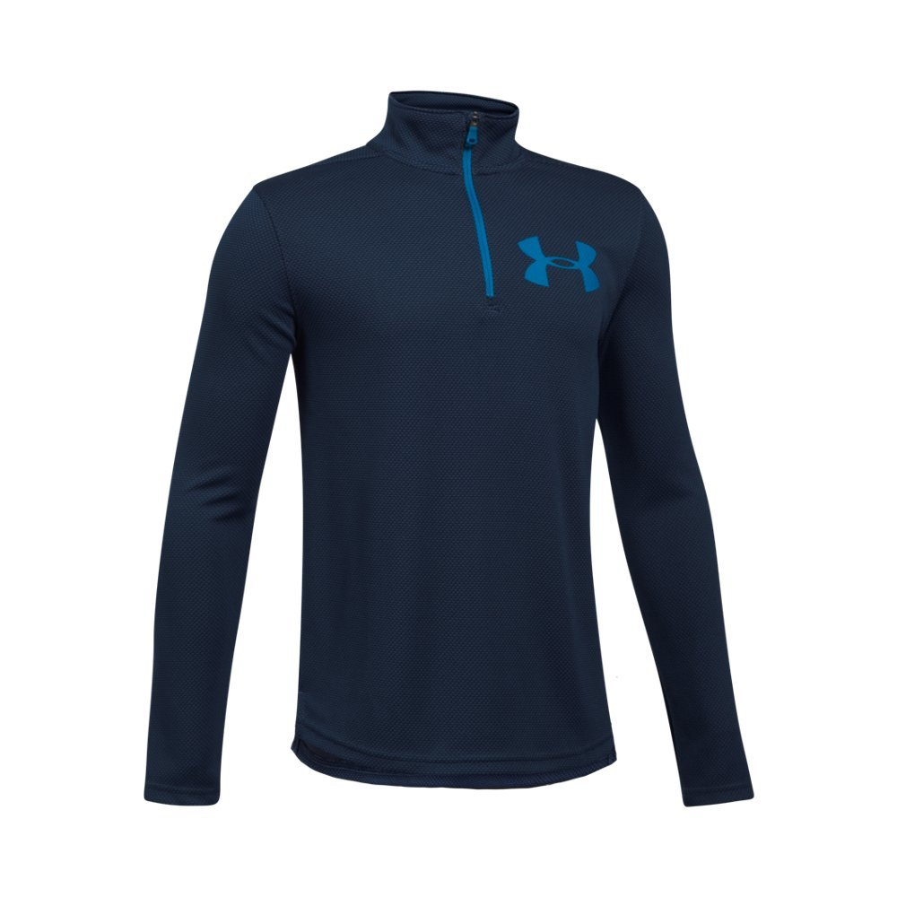 Under Armour Boys' Tech Textured ¼ Zip,Midnight Navy /Cruise Blue, Youth X-Small by Under Armour