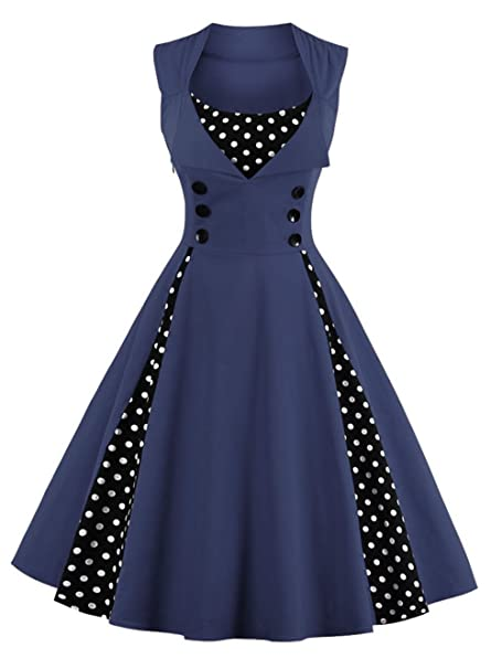 vkstar® para Mujer Vintage 1950 de Inspired botón Swing vestido de noche Rockabilly Pinup cóctel