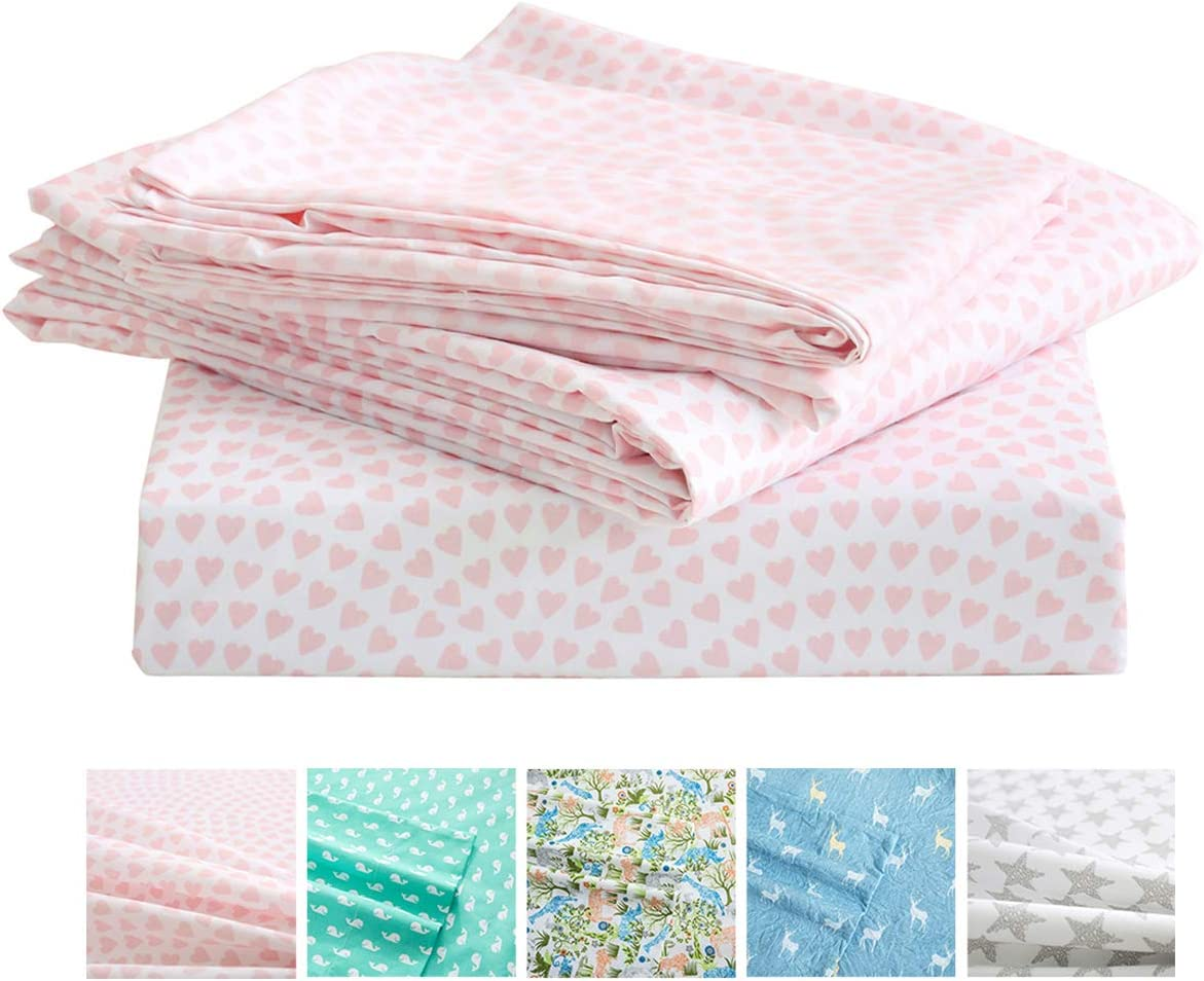 Vonty Kids Twin Sheet Set Pink Heart Brushed Microfiber Bed Sheet for Girls Ultra Soft /& Easy to Wash 1 Fitted Sheet + 1 Flat Sheet + 1 Pillowcase /