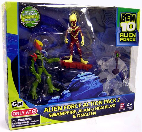Ben 10 Alien Force 4 Inch Exclusive Action Figure 3-Pack Action Pack 2 (Swampfire, Alan as Heatblast and Clear DNALien)