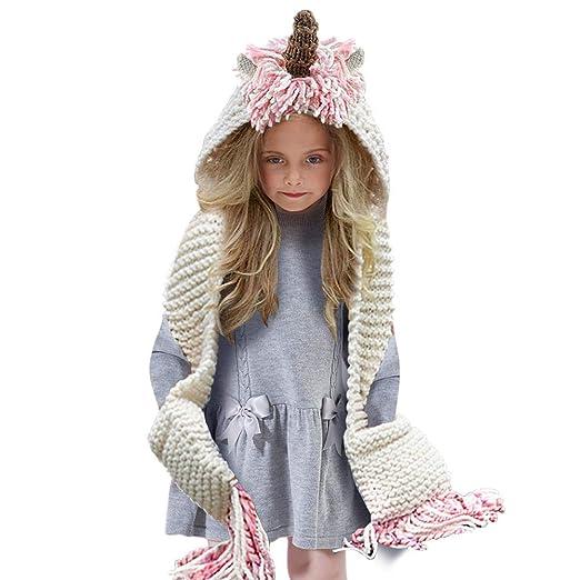 8dc859175 Tacobear Crochet Cartoon Unicorn Winter Hat with Scarf Pocket Hooded  Knitting Beanie Cosplay Photography