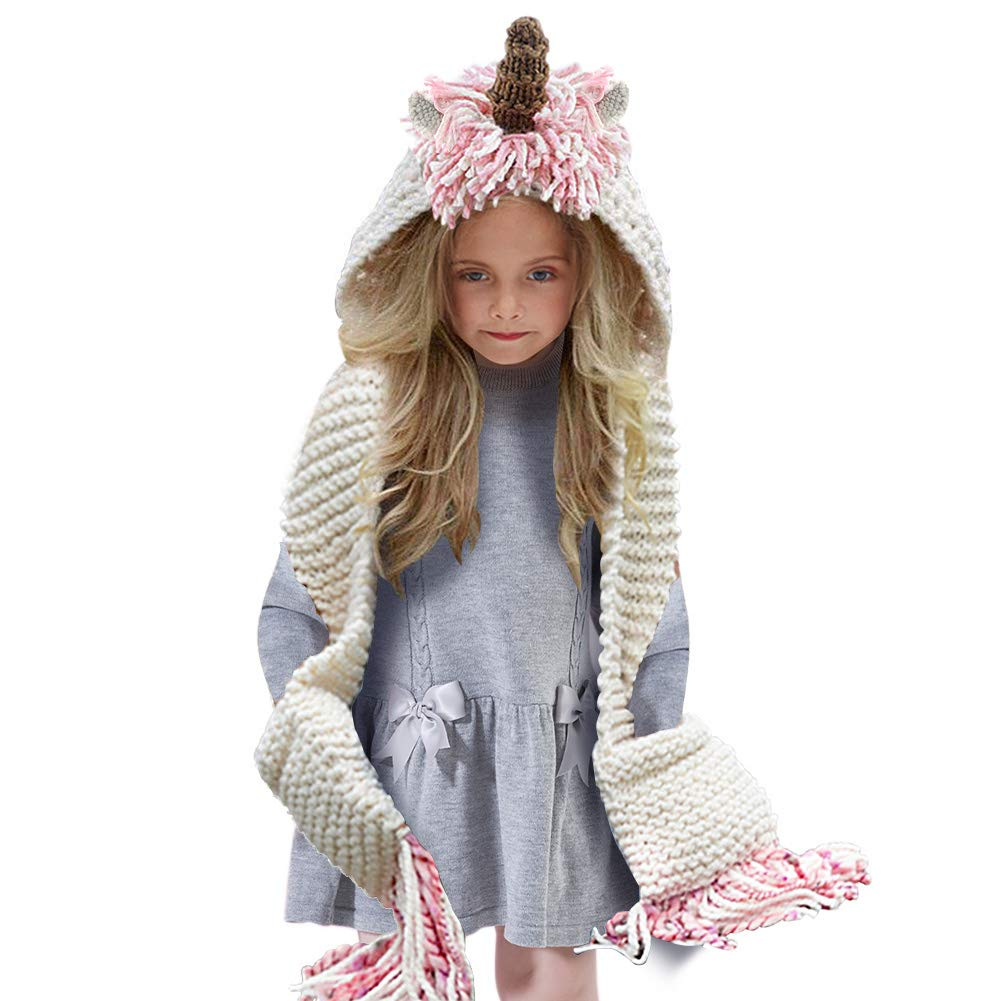 Girls Unicorn Hat Unicorn Gifts for Girls Hat Scarf Gloves Children Winter Warm Hooded Pink Hat Scarf Set