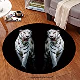 Sophiehome Soft Carpet 286319753 Twin white tigers are walking isolated on black background Anti-skid Carpet Round 24 inches