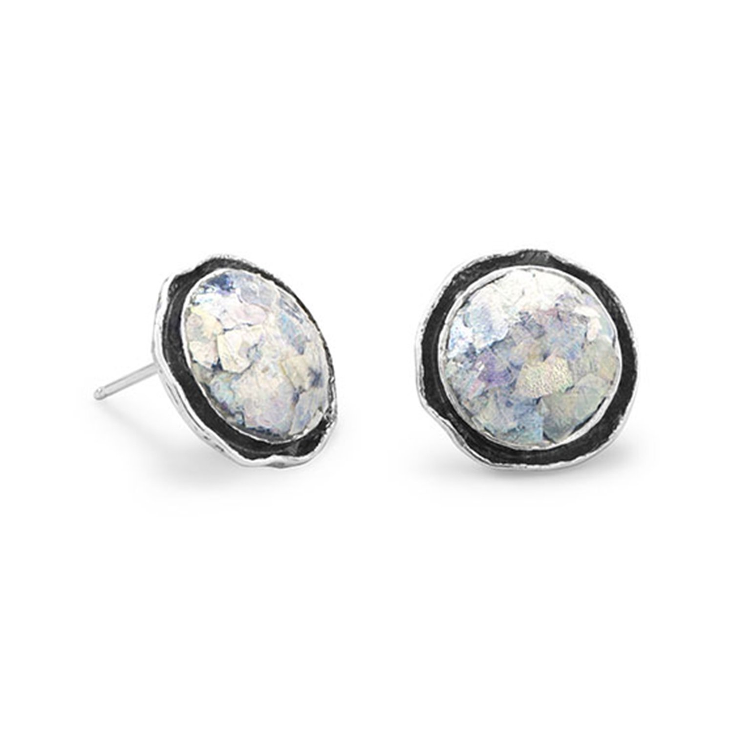 Ancient Roman Glass Stud Earrings Round with Antiqued Edge Sterling Silver