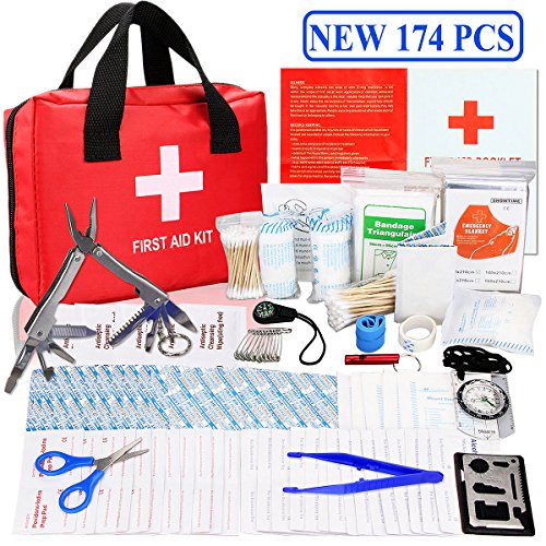 First Aid Survival Kit  Monoki New 174 Pcs Emergency Survival Kit Medical Supplies Trauma Bag Safety First Aid Kits For Home  Office  School  Car  Boat  Travel  Camping  Hiking  Sports  Adventures