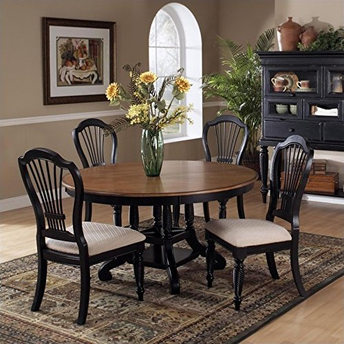 Table Carved Dining Black (Hillsdale Wilshire 7 Piece Round Dining Table Set in Pine and Black)