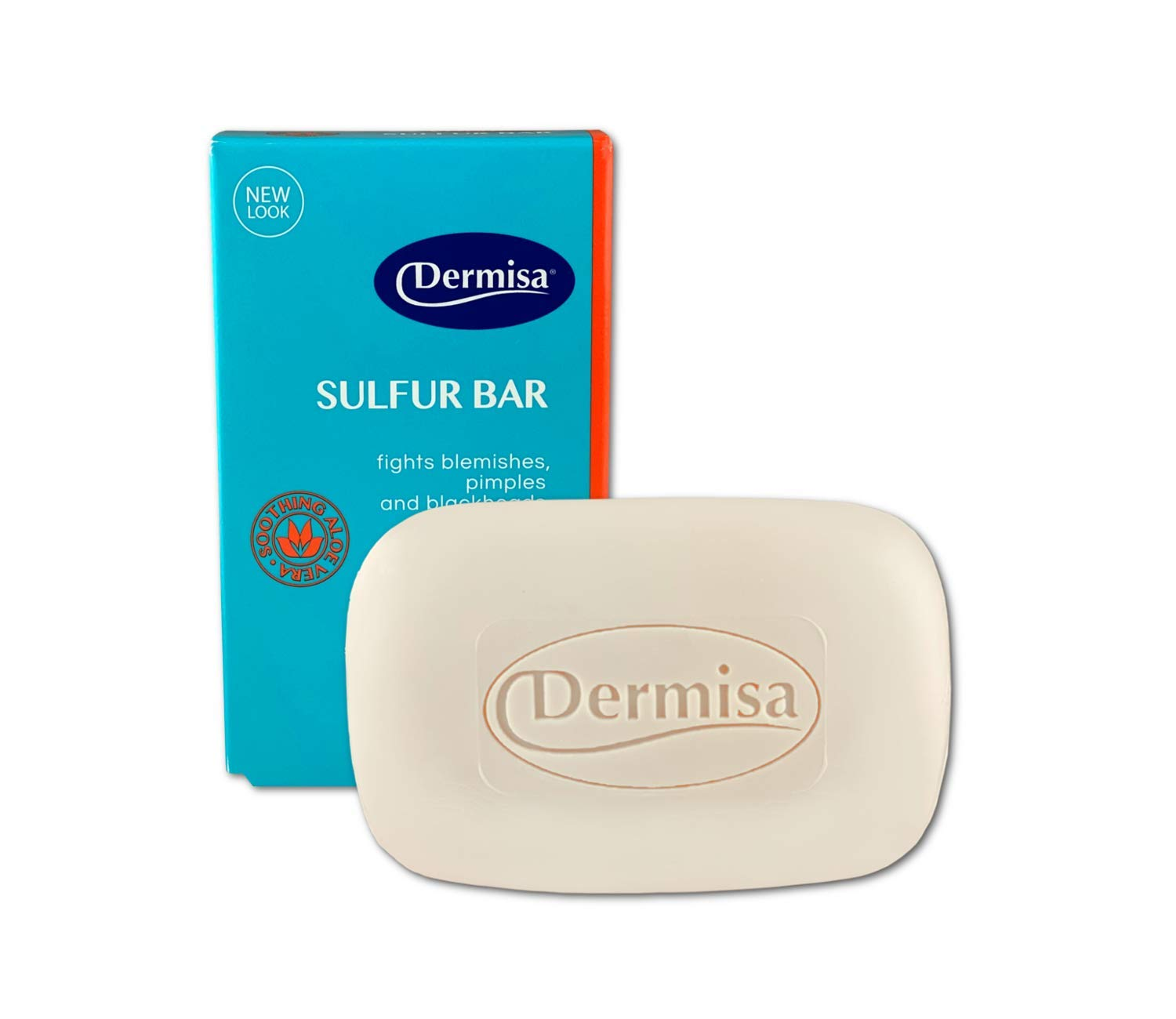 Dermisa Sulfur Bar with Aloe Vera   Helps to Cleanse Oily Acne-Prone Skin and Unclog Pores   Contains Sulfur + Aloe Vera 3 OZ   NO PARABENS, NO ANIMAL TESTING, 100% VEGETABLE BASE   Pack of 1