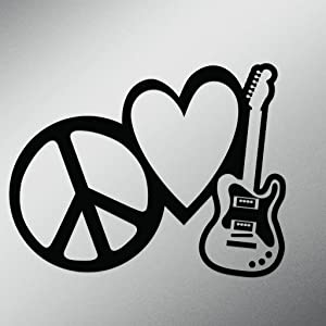 Peace Love Rock and Roll Vinyl Decal Sticker | Cars Trucks Vans Walls Laptops Cups | Black | 7 X 5.4 Inch | KCD1615B