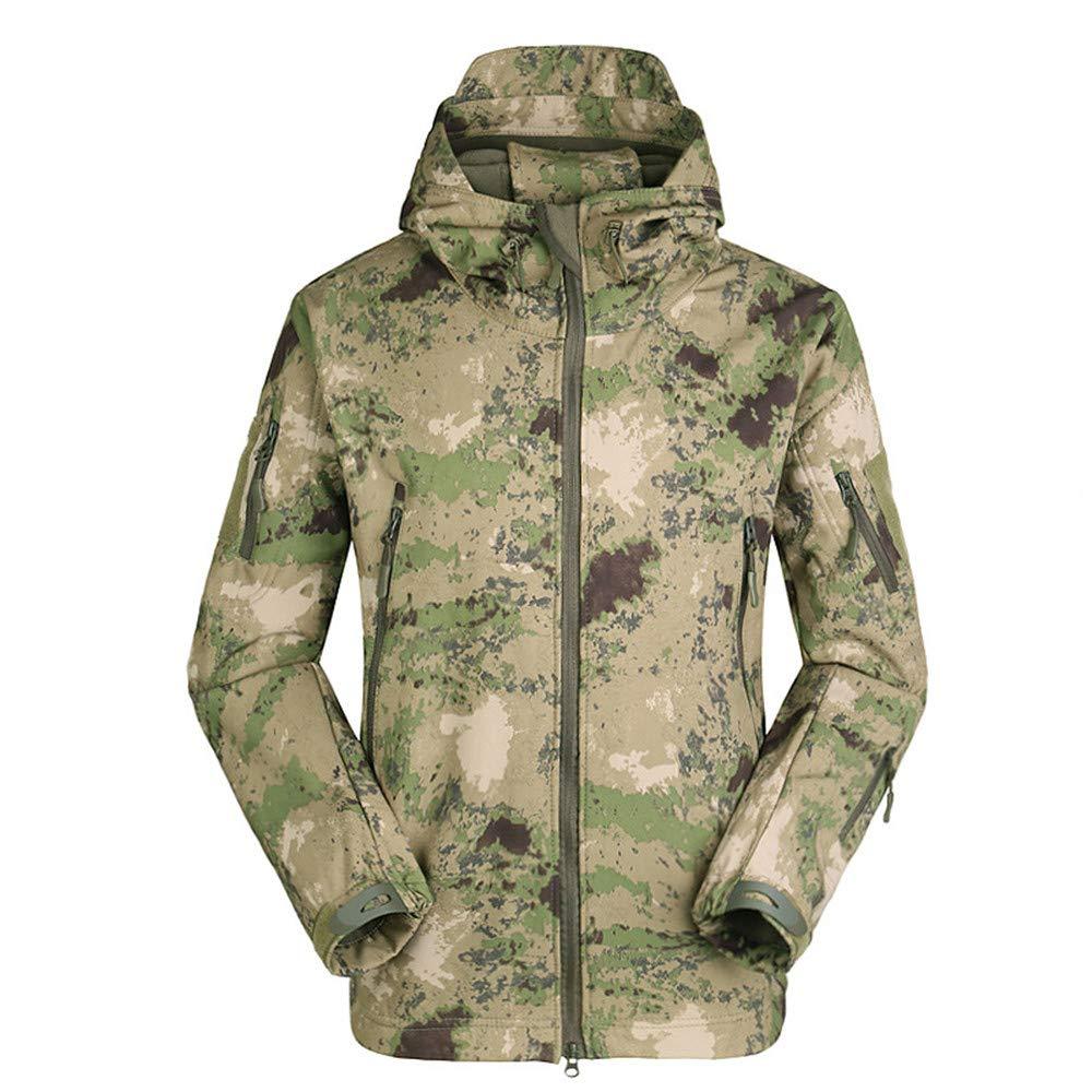 YFNT Taktisch Softshell Fleecejacke Camouflage Milit/är Hoodie Outdoor Wandern Camping Warm Innenfutter Winddicht Wasserdicht Mantel Jacken Skijacke