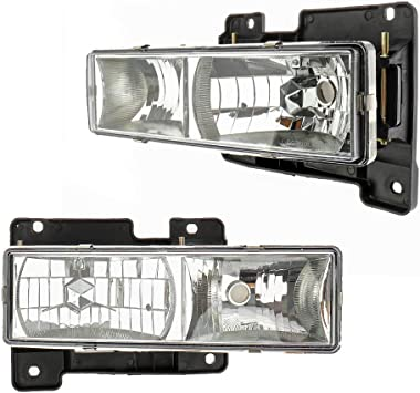 1999 GMC K1500 Suburban K2500 Suburban Headlight Lamp Clear lens Full Size pair