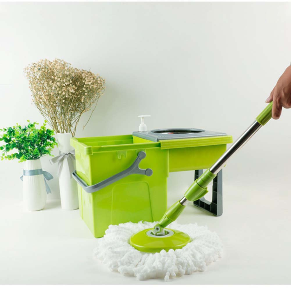 Delidge Automatic SS Double Drive Magic Spin Mop - Foldable Bucket Set - 360°Rotation Push & Pull - Liquid Drain Hole - Easy Wring with 2 Reusable Mop Heads