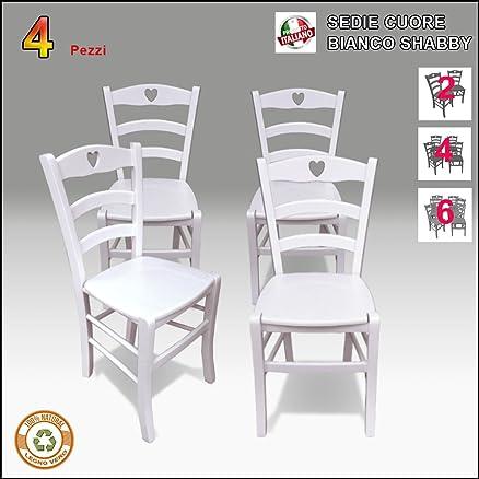 Sedia in legno, bianca, Stile Shabby Chic, Cuore,set 4 sedie (4 ...