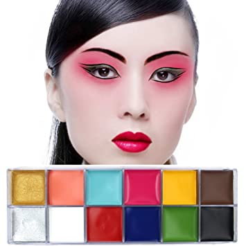 Face Paint Oil HUBEE 12 Flash Colors Halloween Body Painting Art Party Fancy Makeup Set,