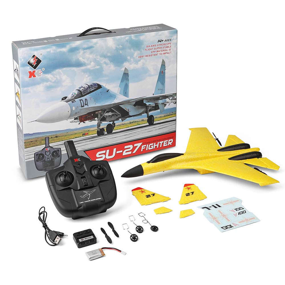 Wotryit WLtoys A100 3 Channel Remote Control Airplane, A100 SU-27 Mode 2.4 GHZ Vertical Take Off Land Delta Wing RC Flying Aircraft Toys RC Glider Indoors & Outdoors_Small Remote by Wotryit (Image #4)
