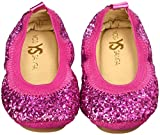 Yosi Samra Girls' Sonya Obbre Chunky Glitter-K, Shocking Pink, 7 M US Toddler