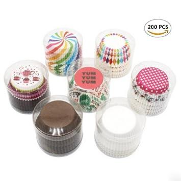 cicy 200pcs colorido papel para magdalenas de postre moldes para tartas Cupcake magdalenas (boda Party: Amazon.es: Hogar