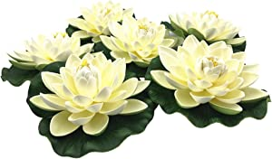 NAVAdeal 6PCS Artificial Floating Foam Lotus Flowers, with Water Lily Pad Ornaments, Ivory White, Perfect for Patio Koi Pond Pool Aquarium Home Garden Wedding Party Special Event Decoration