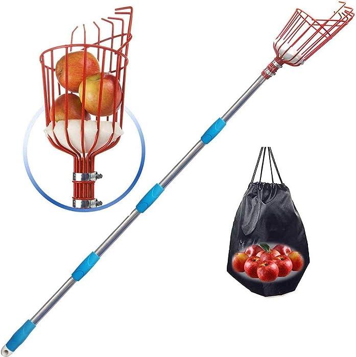 HOME RIGHT Fruit Picker Tool, 8 Ft Stainless Steel Adjustable Fruit Picker with Bracket Sponge Mat, Suit for Guava Mango Honeycrisp Apple Kumquat Orange Cherry Blueberry Plum Picking