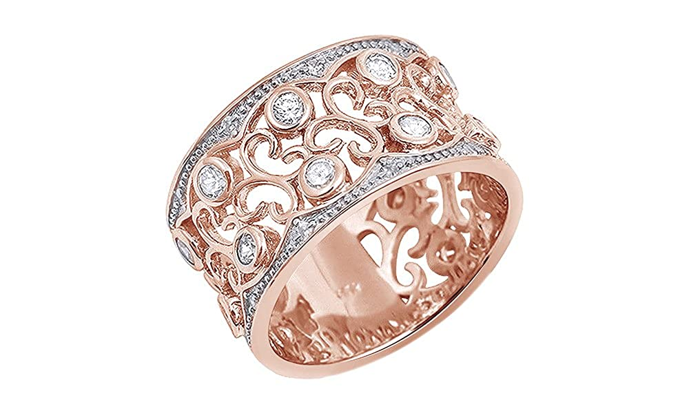 Jewel Zone US White Cubic Zirconia Floral Design Wide Band Ring In 14k Gold Over Sterling Silver MNo-M-381206665798