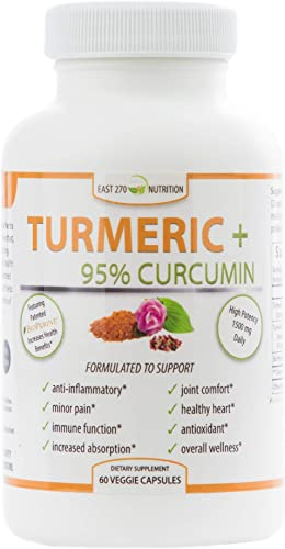Turmeric Plus, 1500mg – with BioPerine Black Pepper Extract for Advanced Absorption – Made in USA – 60 Veggie Capsules, Arthritic Relief, Joint Comfort, Pain Relief, Anti Aging Supplement