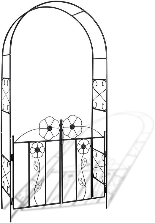 Festnight Puerta de Arco de Hierro para el Jardín 115 x 37 x 230 cm Color Negro: Amazon.es: Hogar