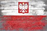 Rustic Poland Country Flag (36x24 Gallery Quality Metal Art)