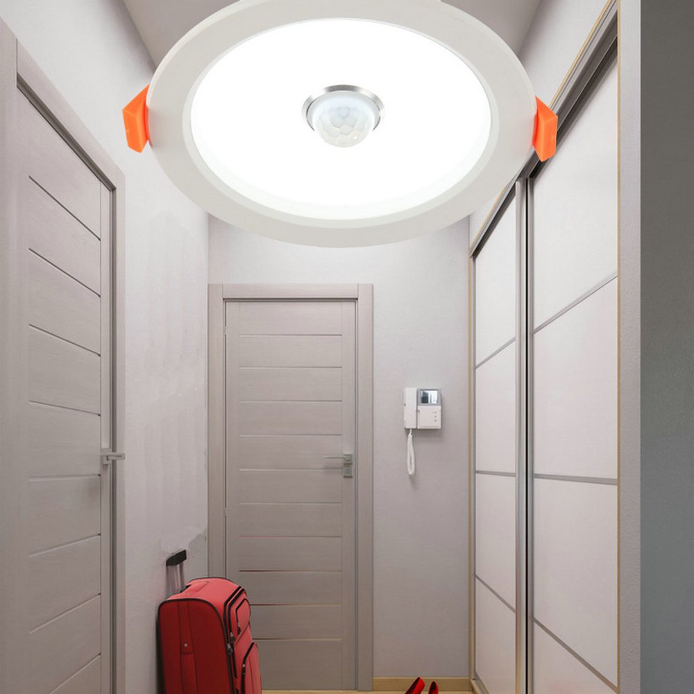 DPG Led Recessed Downlight Round Fixture Ceiling Lights with IR Infrared Induction Sensor Switch Cool White 9W 220v 110v for Human Body Indoor Hallway by DPG Lighting (Image #2)