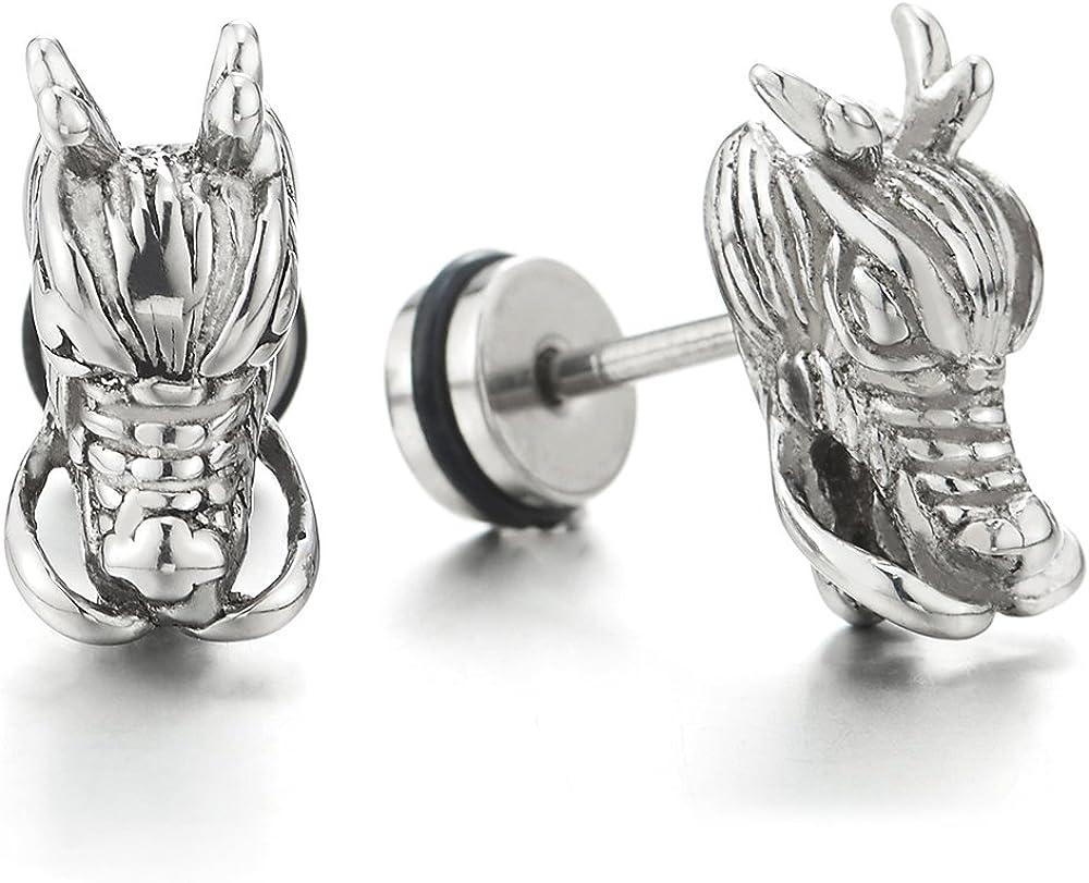 Mens Punk Rock Black Dragon Head Stud Earrings in Stainless Steel, Screw Back, 2 pcs