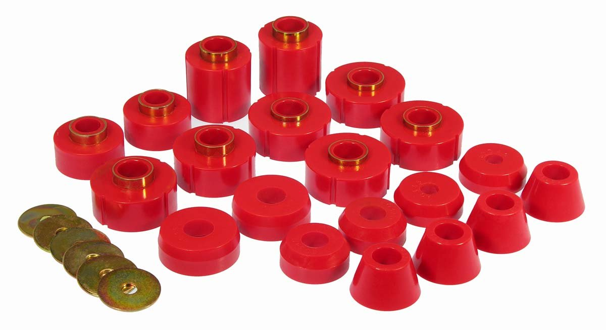 Prothane 6-108 Body And Cab Mount Bushing Kit; Red; 12 pc.;