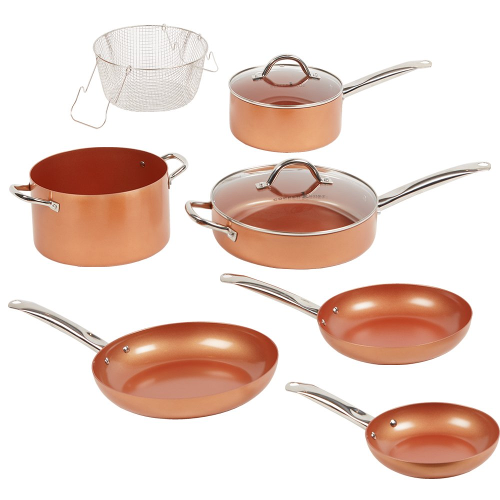 Copper Chef Elite 9 Piece Round Cookware Set -As Seen on TV! Heavy Duty Aluminum & Steel Pans With Ceramic Non Stick Coating. Includes Two Matching Lids, Frying Basket, Roasting & Steamer Tray.
