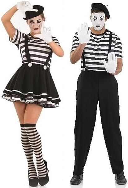 Costume da uomo e donna Francese MIMO artista teatro circo Halloween in  varie misure  Amazon.it  Abbigliamento 65daaed838d7