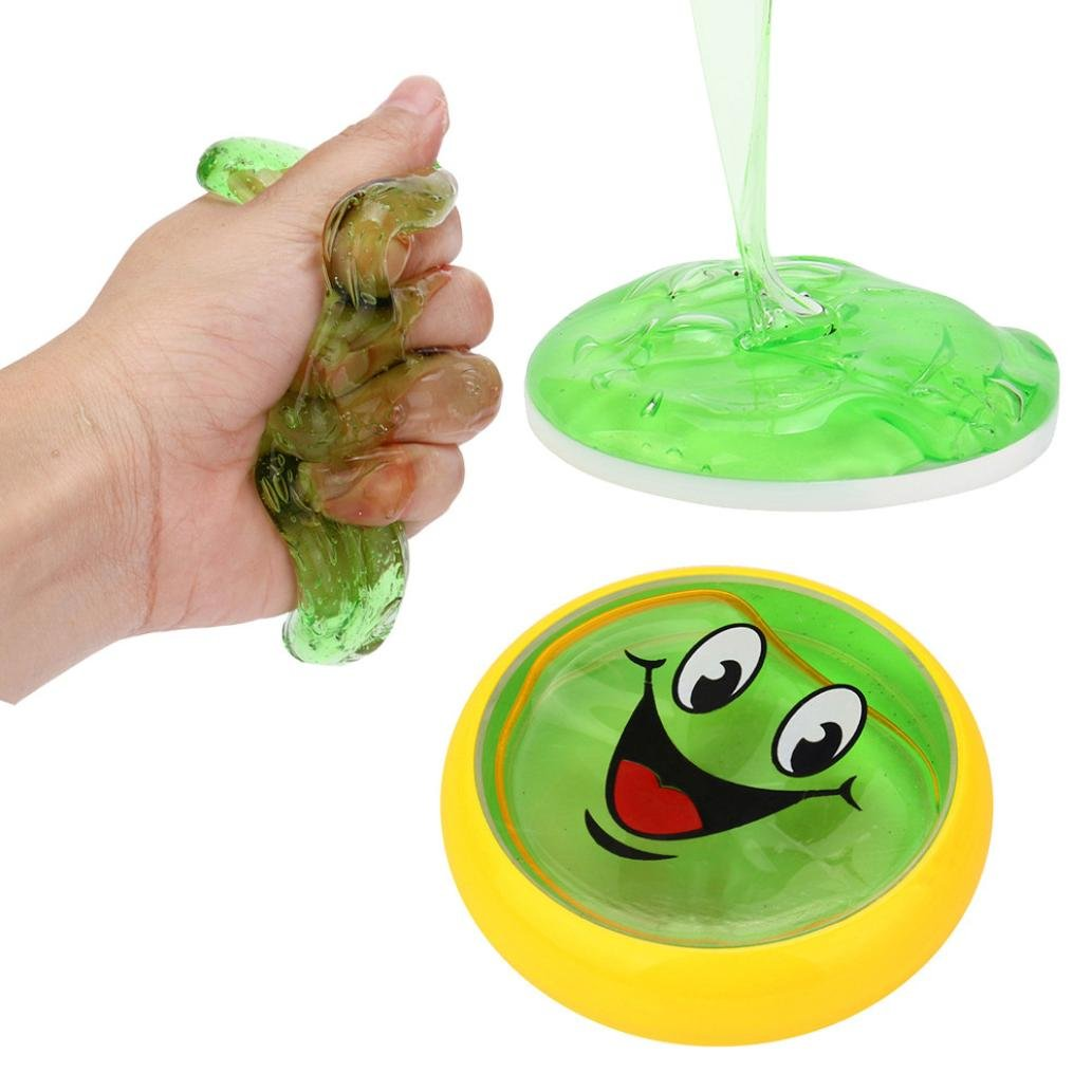 Womail Multicolor Creative Fluffy Floam Slime Crystal Mud Scented Stress Relief No Borax Kids Sludge Toy, 80ml (Green)