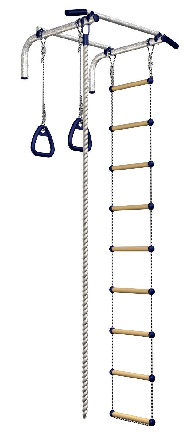 Sport Set Barren Klimmzüge Set + Turnringe + Fitness Klettern Seil + Leiter für Wandmontage