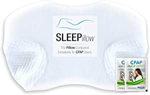 RespLabs CPAP Pillow, The SLEEPillow - Contoured Exclusively for CPAP Users. Reduce Mask Pressure. Prevent Air Leaks. Unparalleled Comfort.