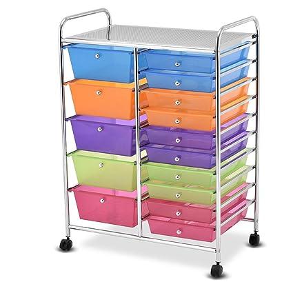 Amazon Giantex 15 Drawer Rolling Storage Cart Tools Scrapbook