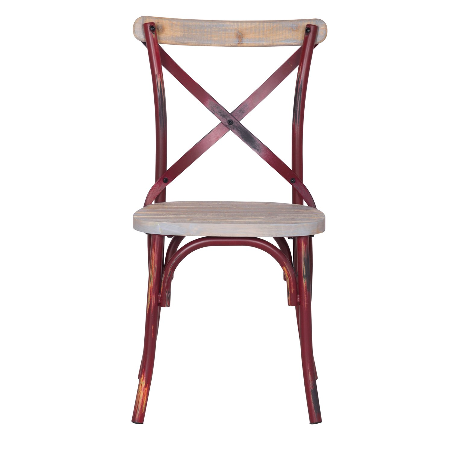 Adeco Metal Chair with Cross Style Back, Solid Elm Wood Dining Side Chair, Red