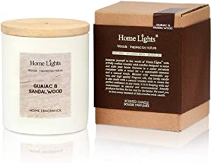 Scented Candles for Home Decoration, 35 Hours Burn Time, Wood Wicks Candle with Ceramics Design, 6.70 oz Natural Soy Wax Candles,Aromatherapy Candles for Gift, Guaiac Sandalwood