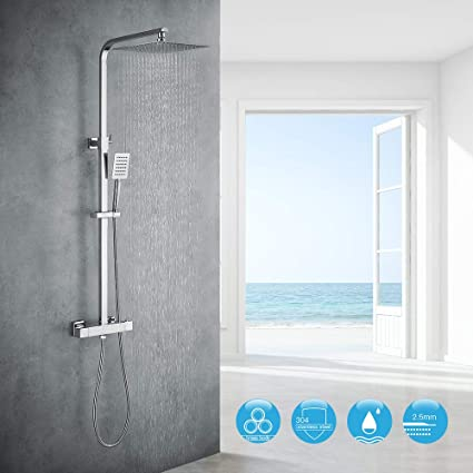 Auralum Conjunto de ducha con termostato de acero inoxidable ...