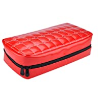 Wismart 80 Capacity Pu Leather Shell CD DVD Blu-ray Media Case Storage Holder Organizer Wallet for Car, Home, Office and Travel Carrying Protector Organizer (80-Capacity, Red)