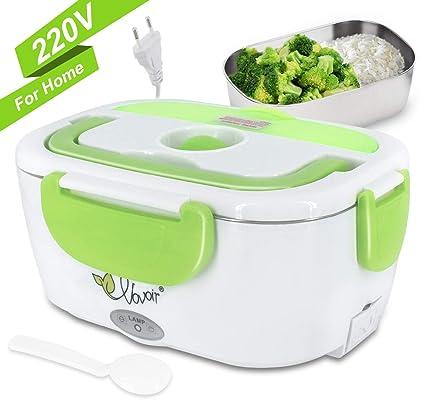 Fiambrera eléctrica comida térmico Lunch Box Fiambreras bento con Bandeja extraíble acero inoxidable Recipiente de comida térmico 220V (verde, 220V ...