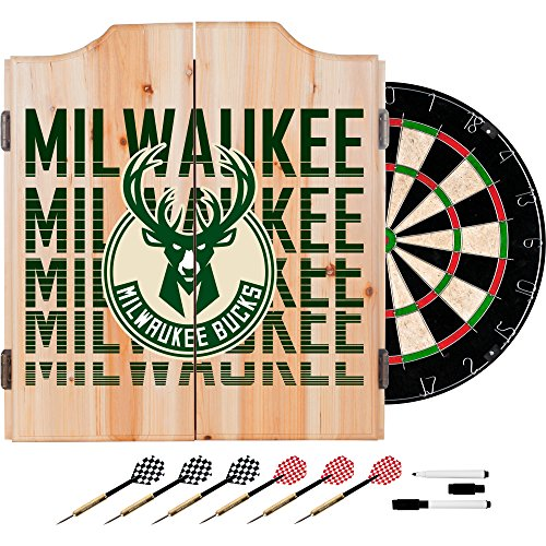 Trademark Gameroom NBA7010-MB3 NBA Dart Cabinet Set with Darts & Board - City - Milwaukee Bucks by Trademark Global